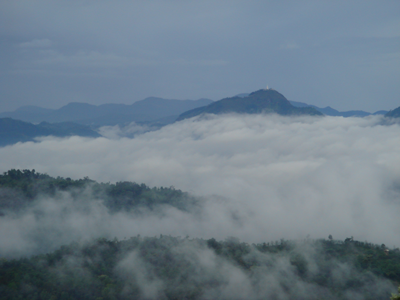 Amazing view of the misty mountains in kandy